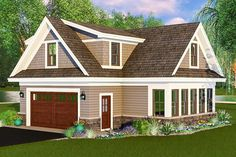 Stone, clapboards and shingles adorn the outside of this carriage house plan. Use it as a guest house, a vacation home or as parking with bonus next to an existing home.The main floor has room for two cars plus a dedicated space to use as a workshop or to set up as a man cave.The top floor gives you an open living area with a kitchen plus a bedroom and bath.