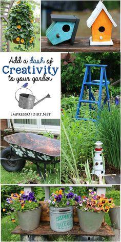 Add a dash of creativity to your garden with garden art and decor! Take ideas home to your garden.