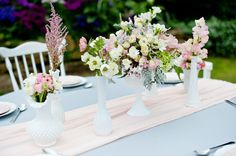 Pink and grey linen and pastel flowers. Styling by raptureevents.com.au, Floral Design by bloomingbridal.com.au