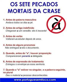 Pecados mortais da crase: