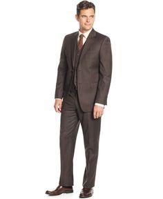 Lauren Ralph Lauren Slim-Fit Brown Stripe Vested Suit