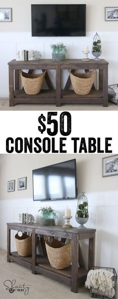DIY console table! Only $50 in lumber!!! http://www.shanty-2-chic.com