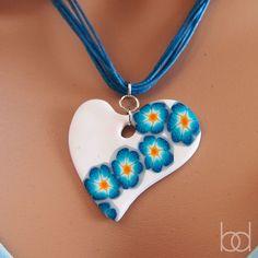 White Heart Polymer Clay Millefiori Necklace por DiasJewelryShop, $15.00