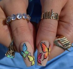 Dancing On The Fingertips In The Summer Nails Art Designs - Keep creating beauty and warm home, Find more happiness in daily life Butterfly Nail Designs, Butterfly Nail Art, Cute Acrylic Nail Designs, Nail Art Designs, Summer Acrylic Nails, Best Acrylic Nails, Dope Nails, Swag Nails, Grunge Nails