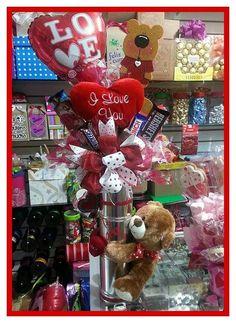 Hgg Valentine Gift Baskets, Valentine Crafts, Happy Valentines Day, Corporate Gift Baskets, Corporate Gifts, Candy Bouquet, Balloon Bouquet, Valentine Bouquet, Magic Party