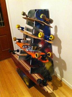 Skateboard Longboard Wall Rack Mount -- Holds 5 boards | Wall racks Skateboard and Walls & Skateboard Longboard Wall Rack Mount -- Holds 5 boards | Wall racks ...