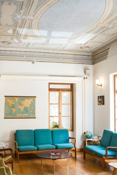 Travel to Athens, Greece. Wanderlust, City Circus Hotel, Travellers Inn, Vintage, Interior Design, Living Room, Blue Couch, Map, Ceiling