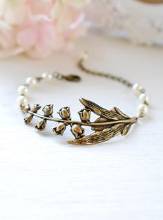 Lily of the Valley Bracelet Cream White Pearls Antiqued Brass Flower Bracelet Vintage Wedding Bridal Bracelet lily of the valley jewelry