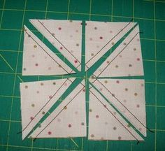 Eight half square triangles in one go. Includes formula for sizes.: More