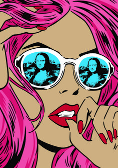 pop art 299 Recalling the classic, comic book, Reflections depicts the close up of a womans face, framed by pink locks and finished with a pair of white shades, their blue-tinted lenses pinging back the refection of none other than da Vincis Mona Lisa. Vintage Pop Art, Retro Art, Pop Art Drawing, Art Drawings, Pop Art Illustration, Illustrations, Comic Books Art, Comic Art, Pop Art Women