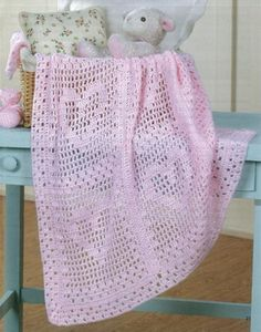 Baby Afghans Book ~ another charming Pink filet hearts blanket