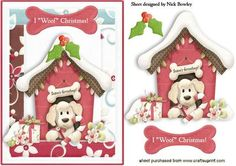 I WOOF CHRISTMAS CUTE PUPPY IN KENNEL on Craftsuprint - Add To Basket!