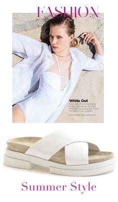 Ciabatta in pelle stampa coccodrillo, fasce a incrocio, fussbett anatomico, suola in gomma. http://bit.ly/1EICzz2 #shoes #summer #beach #outfit #white #abitileggeri