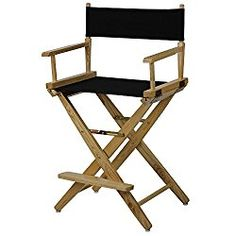 American Trails Extra-Wide Premium 24″ Director's Chair Natural Frame with Black Canvas, Counter Height