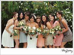 different colored & styled bridesmaids dresses