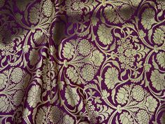 Purple Brocade Fabric by the Yard, Indian Wedding Dress fabric, Banarasi Brocade costume fabric, lehenga crafting fabric, Dress Material Brocade Dresses, Brocade Fabric, Purple Backgrounds, Fabric Crafts, Dress Making, Lehenga, Fabric Design, Floral Design, Costumes