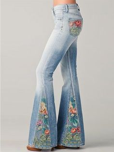 new fashion gradient flower printed jeans flared pants - inkshe.com Womens Fashion Online, Latest Fashion For Women, New Fashion, Fashion Trends, Moda Jeans, Print Chiffon, Cotton Style, Flare Pants, Casual Pants