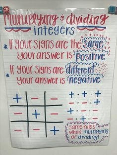 Multiplying and dividing integers, multiplying integers, dividing Math Teacher, Math Classroom, Teaching Math, Math Math, Math Fractions, Math Charts, Math Anchor Charts, Sixth Grade Math, Fourth Grade