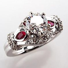 AMAZING!!!              ruby engagement rings | Genuine Diamond & Ruby Engagement Ring VS G Round Brilliant 14K White ...