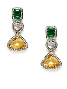 Emerald, Citrine, & Diamond Multi-Shape Earrings by Amrapali