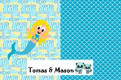 Mermaid Minky Name Personalised Blanket Design. Choose your own, images, colours and name. Find us on FB, Tomas & Mason :) Pram sized Deisgn.