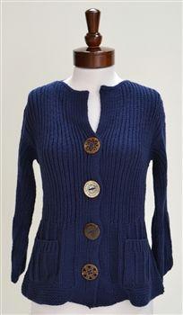 Pure Handknit  Hand-Knit Cotton Cardigan
