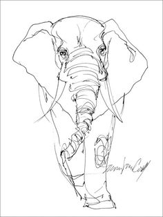 Elephant line drawing. greeting card from reproduction of original drawing by Mona Cordell by MJCWildLifeArt on Etsy