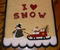 I Love SnowSnowman Penny Rug Table Runner/Candle Mat DIGITAL