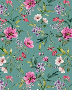 Romantic floral print on Behance Floral Print Wallpaper, Vintage Flowers Wallpaper, Beautiful Flowers Wallpapers, Best Flower Wallpaper, Flower Pattern Design, Floral Print Design, Drawing Wallpaper, Watercolor Wallpaper, Flower Prints