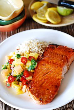 Broiled salmon with mango salsa and rice, seafood, fish