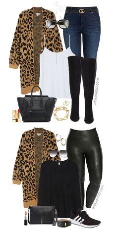 534fee1ec45 Plus Size Leopard Cardigan Outfit Ideas - Plus Size Leather Leggings - Plus  Size Fall Outfits