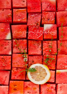 Watermelon salad...sea salt,cracked black pepper,meyerlemon or blood orange( add tequila for a fun summer picnic :)...by Laksmi