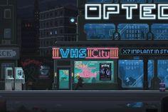 Tagged with pixel art, cyberpunk, tron, illustrationstation, genuinehuman; Cyberpunk Pixel art by GenuineHuman Vaporwave, Animation Pixel, Arte 8 Bits, Space Opera, Anime Gifs, Neon Noir, 8 Bit Art, Pixel Art Games, Retro Waves