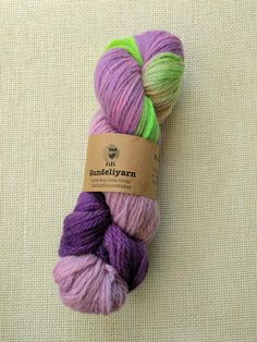 Hand dyed aran weight yarn - pretty lilac and lavender colours with pop of green - wool - skein Lavender Color, Lilac, Best Ballpoint Pen, Lace Knitting, Knitting Patterns, Aran Weight Yarn, Sock Yarn, Hand Dyed Yarn, Wool