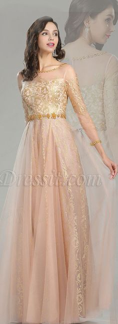 Gold & Blush Beaded Quinceanera Evening Dress #eDressit
