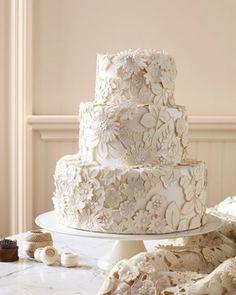 Lace Appliqué Wedding Cake | 27 Ideas For Adorable And Unexpected Wedding Cakes