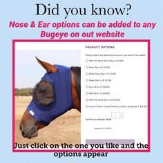 Options available to add to any Buggez Bugeye Wide Nose, Horse Fly, Face Masks, Ads, Horses, Facial Masks, Horse, Words, Masks