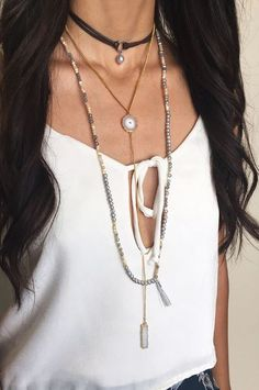 Leather, Pearl and Moonstone Layering #chanluu #layering #necklaces #jewelry