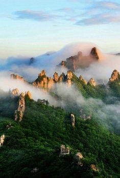 Fog in Dinosaur Ridge in Seoraksan National Park, South Korea (source) South Korea Travel, Asia Travel, Parque Nacional Seoraksan, Places To Travel, Places To See, Seoraksan National Park, South Korea Photography, Parque Natural, Photos Voyages