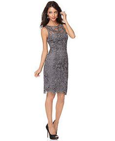 Bridesmaids, in soft green?  Adrianna Papell Dress, Sleeveless Lace Sheath - Womens Dresses - Macy's