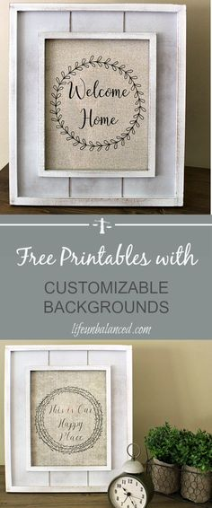 Free Printables with Customizable Backgrounds | Farmhouse Printables | Customizable Free Printables Crafts For Teens To Make, Crafts To Sell, Easy Crafts, Diy And Crafts, Paper Crafts, Wood Crafts, Frame Wreath, Dollar Store Crafts, Do It Yourself Home