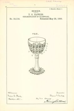 Design: T. G. Hawkes: ornamentation of glassware, Washington, D.C.: U.S. Patent Office, 1889. | Rakow Research Library (CMGL 119137) #colorourcollections #cutglass #coloringforadults