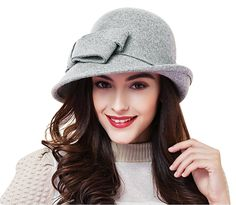 2a6f231d361 Women Solid Color Winter Hat Wool Cloche Bucket with Bow Accent