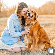 Dallas Teen Portrait Photographer |  Portrait of a girl and her dog.  Golden light in her hair, a golden field, and a smiling Golden Retriever.  ©Tracy Allyn Photography
