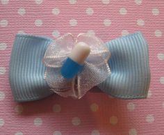 Pastel Blue Pill Hair Bow Clip Barette Barrette  by lemoncreamshop