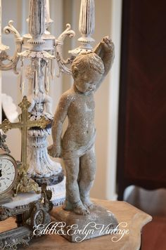 Vintage Cement Cherub Statue by edithandevelyn on Etsy