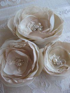 Bridal hair flowers Wedding hairpiece fascinator vintage Brooch/hair clipset 3…