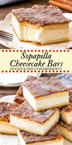 These sopapilla cheesecake bars have a thick layer of creamy cheesecake between 2 sheets of flaky pastry. Then they're topped with buttery cinnamon sugar. This version of sopapilla is made with only 8 ingredients - so it's quick, easy & oh so delicious. #cheesecake #sopapilla #cheesecakebars #cinnamonsugar #easy #recipes #cheesecakebars #sopapillacheesecake Sopapilla Cheesecake Bars, Flaky Pastry, Layers, Tiramisu, Cinnamon, Phyllo Dough, Layering, Diapers, Tiramisu Cake