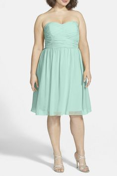 DONNA MORGAN 'SARAH' Strapless Ruched Chiffon Dress Sz 16W  Spearmint $189 #DonnaMorgan #Cocktail