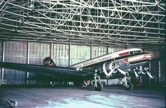 Braniff DC-3 in the Love Field Hangar. Powered by Wright 9-cylinder R-1820 Cyclones, or 14-cylinder Pratt & Whitney Twin Wasps, the DC-3 was the brainchild of American's C. R. Smith and Donald Douglas. The two redesigned the DC-2 into the DC-3. It had 7 more seats, enough to rely on pax revenue instead of just airmail. Braniff ordered the DC-3 in 1939. Many were used in WWII during The Banana Run, running supplies to the Panama Canal.